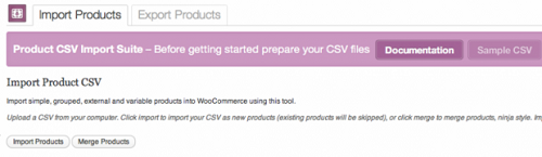 WooCommerce Product CSV Import Suite Main Screen